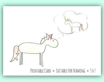 Birthday Card // Instant Download // Wishful Thinking Horse-Unicorn Card // Watercolor Art Card // 5x7 Print
