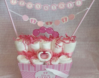 It's a Girl Diaper Cake Baby Shower Gift
