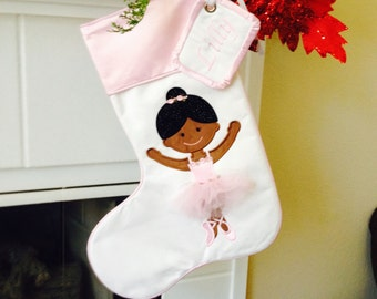 Embroidered Appliquéd Ballerina Stocking with matching name tag