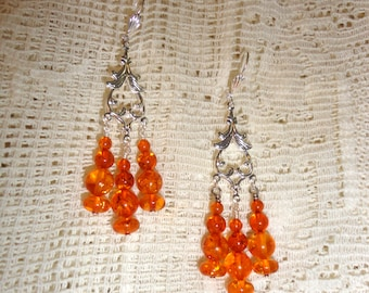 Amber drops beaded earrings, silver and natural amber
