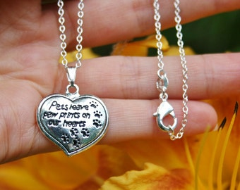 Sterling Silver .925 Pendant Necklace Pets Leave Paw Prints on Our Hearts Charm Benefits Animal Rescue Dog Lovers Pet Lover Valentine Cat
