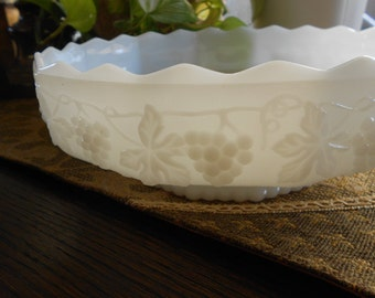 Fire King Milk Glass Bowl Grape Details Scalloped Edge Low Profile Anchor Hocking Made inthe USA Vintage Glass Serving Dish Glass Collection