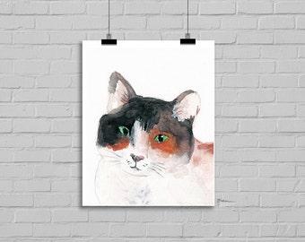Calico Cat Portrait Watercolor Cat Painting Cat Art Print Cat Wall Art Cat Lover Watercolor PRINT Calico Kitty