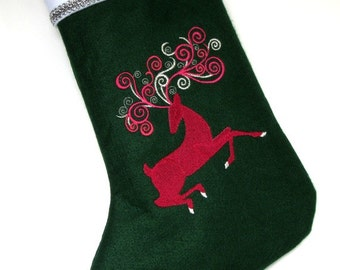 Personalized Christmas Stocking Felt Embroidered Reindeer