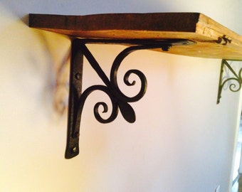 Free Shipping--- USA and Canada only---Shelf bracket classical style wrought iron Hand forge, Hand hammered. (cl-3-FL)