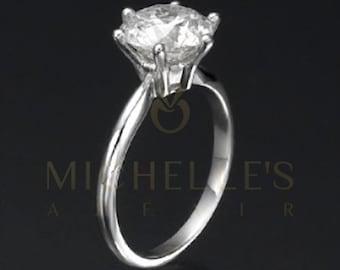 Diamond Engagement Ring 14K White Gold Women Round Cut H VS2 Certified 2 1/4 Carat Diamond Ring
