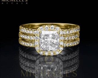 Women Diamond Rings Set 18K Yellow Gold 3 3/4 Carat H VS1 Cushion Cut Engagement Ring And Half Eternity Wedding Band