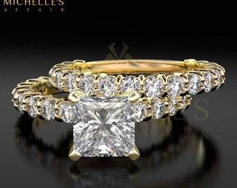 Diamond Ring 2.75 Carat F VS1 Bridal Jewelry Set Princess Cut Women Engagement Ring And Band 14 Karat Yellow Gold