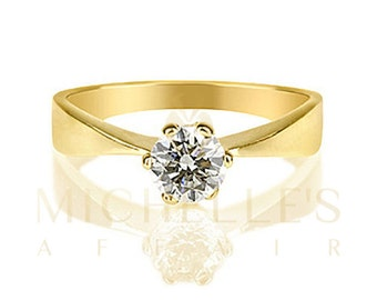 F SI2 Solitaire Diamond Ring 0.40 Carat Round Cut Women Engagement Ring 18K Yellow Gold Size 4 5 6 7 8