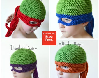 Kids Teenage Mutant Ninja Turtle Hat - Fun Hat for Kids - Kids TMNT Hat - Christmas Gift for Kids - Michaelangelo Raphael Leonardo Donatello