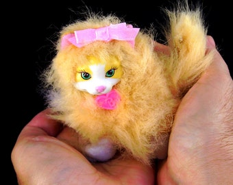 Vintage Barbie Doll Pet Kitty Cat Orange Fluffy Arcotoys Mattel Dollhouse Animal Diorama Display Accessory Christmas Gifts Stocking Stuffer