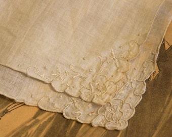 Vintage Scalloped Woman's Handkerchief