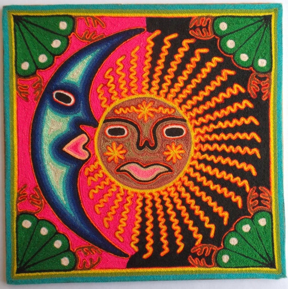 12 Mexican Huichol Sun and Moon / Eclipse yarn painting