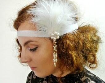 1920s Great  Gatsby Headband Ivory  20's Headpiece Fascinator Flapper Headband Prom Headband Prom headpiece