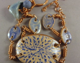 Blue Explosion Polymer Clay Bracelet.