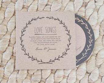 Rustic Vintage Wedding Favors Custom Kraft CD Sleeves Matching Printed CDs Package Unique