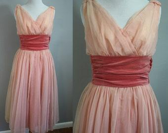 1950's Dress // Pink Velvet and Chiffon // XS