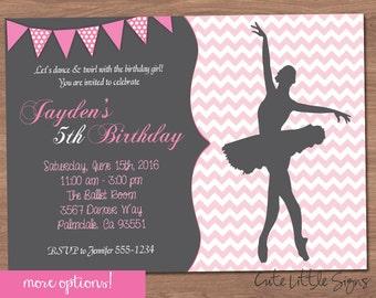 Chevron Ballet Dance Birthday Invitation Digital Download