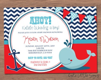 Ahoy Nautical Baby Shower Invitation Digital Download