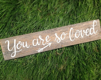 Reclaimed Wooden Nursery Sign-You are so loved- Handpainted pure white