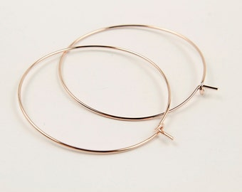 Hoop earring, E4-P1, 10 pcs (5 pairs), 40x0.7mm, Earring hook, Rose gold plated brass, EY07-09