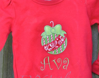 Girls Personalized Christmas Ruffle Tee with Ornament with monogrammed name - Personalized!