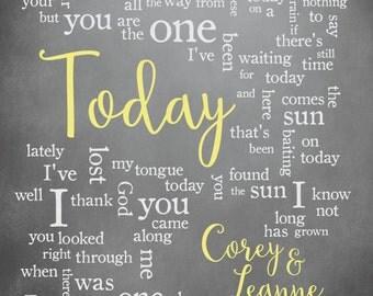Wedding Song Lyric Art: Today by Joshua Radin - Personalized Word Art - 8x10 - Custom Wedding Song Print