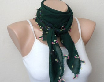 green scarf pink  flower  yellow red purple cotton turkish yemeni oya handmade