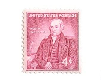 10 Unused 1958 Vintage Pink Stamps // Noah Webster // 4 Cent Blush Vintage Postage Stamps