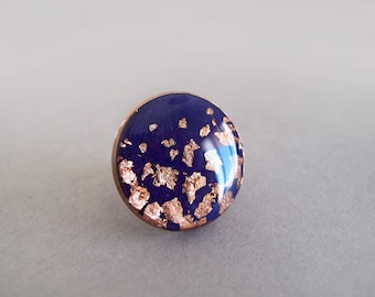 Violet and  Copper Adjustable Ring -  Gift for Her