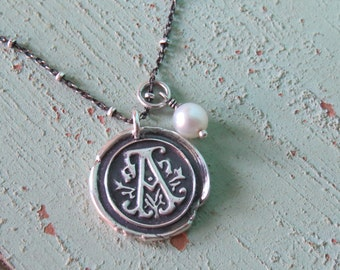 "Fine Silver Wax Seal Monogram Pendant and Pearl on an 18"" Sterling Silver Beaded Chain"