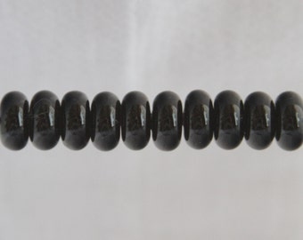Black Lampwork Glass Bead Spacers Donuts MADE TO ORDER