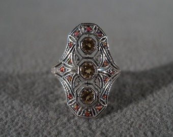 Vintage Sterling Silver 3 Round Golden Citrine 16 Opal Fancy Scrolled Etched Filigree Victorian Style Band Ring, Size 8