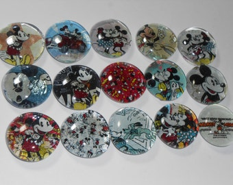 Geocache Glass Refrigerator Magnets - 15 Pcs Old School Mickey Mouse Set