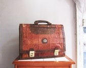 Vintage tan leather patchwork handbag satchel briefcase suitcase hand carry luggage messenger bag