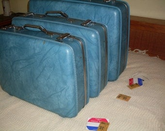 Vintage American Tourister Luggage Set, With Keys And Identification Stickers! Ocean Blue, Cruise Luggage, Vintage Travel, Hard Body Luggage