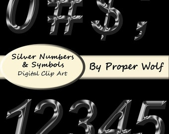 Silver Numbers and Symbols Clipart Set