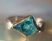 18 kt Gold & Sterling Silver Rough Aqua Ring- Raw Aqua Engagement Ring Organic Rustic- Rough Neon Apatite gemstone ring