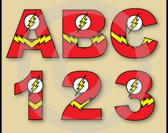 The Flash (Justice League) Alphabet Letters & Numbers Clip Art Graphics