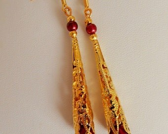 Large Coned Vintage Style gold Filigree & Pearl Drop Earrings red glass bead