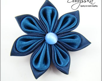 Blue Kanzashi Flower - Brooch