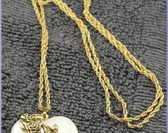 ON SALE Vintage Gold Tone Puffy Lucite Pearlescent Heart Pendant Necklace