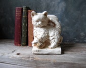 Playful Kitten Bookend: Vintage Chalkware Cat Bookend, Shabby Chippy Cottage Chic Decor, Bookend for Home or Office