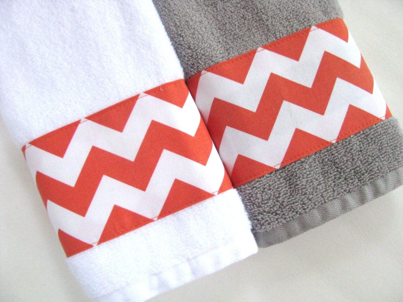 Orange chevron towels towels hand towel orange bathroom for Orange and grey bathroom accessories