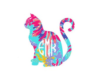 Cat Lilly Pulitzer Inspired Monogramm Vinyl Decal