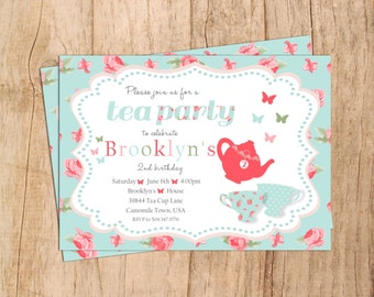 Shabby Chic Tea Party Birthday Invitation . Tea For Two . Digital File . Tea Cups . Little Girl Birthday Invitation . JPEG or PDF File