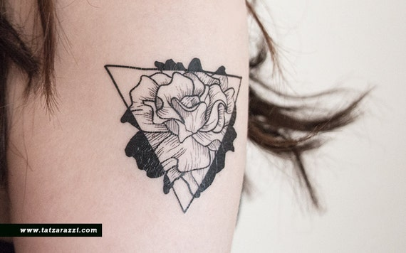 Floral Triangle Temporary Tattoo Flowers Rose Nature By