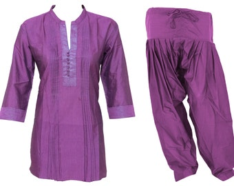 COMBO PACK : Kurta & Patiala - Indian Ethnic Pleated Women's Cotton Short Top Tunic Kurti - Cotton Patiala Pants - All Size - 36 Combination