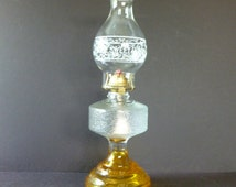 Vintage Amber Hurricane Oil Lamps, kerosene lamp,  Depression glass with Eagle Burner