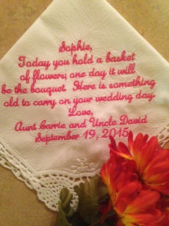 ... bride - weddings gift - hanky - Hankie for Flower Girl Wedding